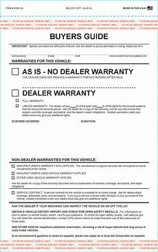 Sale As Is Form For Car Federal Used Car Buyers Guide Form Generic And Imprinted