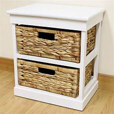 white 2 drawer basket bedside cabinet home storage unit