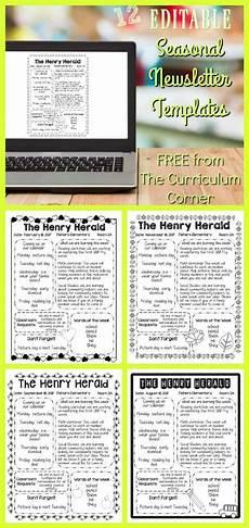 Editable Classroom Newsletter Editable Seasonal Newsletter Templates The Curriculum