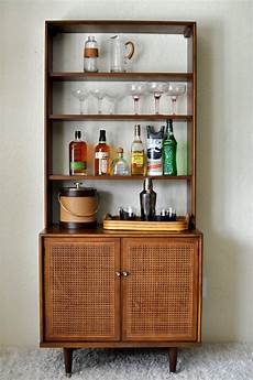 mcm caned hutch bar cabinet vintage modern style