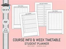 Student Subject Planner 2019 Student Planner Printable Subject Timetable Weekly