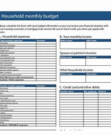 Houshold Budget Free 41 Sample Budget Forms In Pdf Ms Word Excel