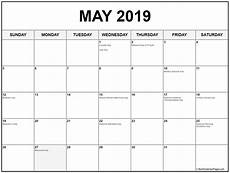 Printable Calendar May Collection Of May 2019 Calendars With Holidays