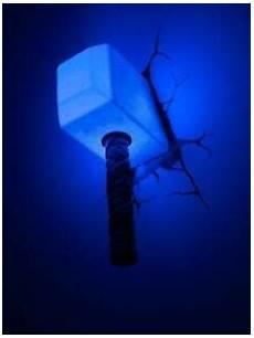 Mjolnir Night Light Decorative Wall Led Lamp Thor Hammer 3d Light Avengers