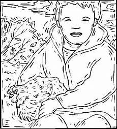 junge mit huhn winter ausmalbild malvorlage tiere