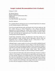 Academic Letter Of Recommendation Sample Free 13 Sample Recommendation Letter Templates From