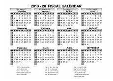 2020 Fiscal Year Calendar Printable 2019 Fiscal Year Calendar Template Calendarlabs