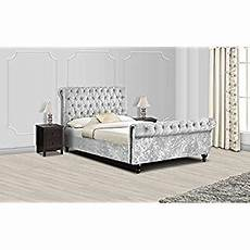 new sleigh diamante crushed velvet fabric upholstered bed