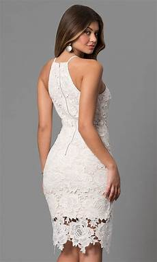 white knee length graduation lace dress promgirl