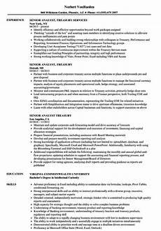 Treasury Resume Senior Analyst Treasury Resume Samples Velvet Jobs