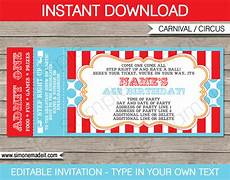 Carnival Theme Party Invitations Templates Circus Ticket Invitation Template Carnival Or Circus Party