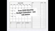 Printable Budget Calendar Free Printable 2020 Monthly Budget Calendars Youtube