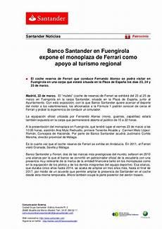 banco santander stock banco santander en fuengirola expone el monoplaza de