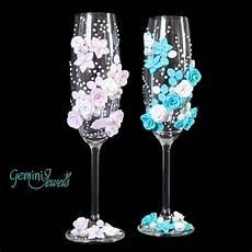 bicchieri decorati wedding flutes decorati a mano con fimo e perle feste