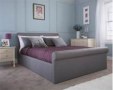 grey side lift ottoman fabric sleigh bed 4ft6 5ft