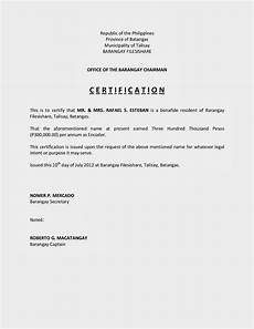 Company Certification Sample Certification Of Income Sample Filesishare