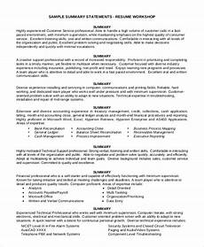 Summary Of Resume Sample Sample Summary For Resume 8 Examples In Word Pdf