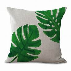 tropical green plant throw pillow cases home decorative