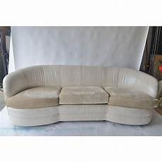 leather curved back sofa chairish