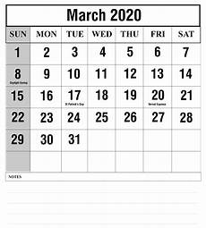 March 2020 Printable Calendar With Holidays Free Blank March 2020 Calendar Printable Templates Pdf