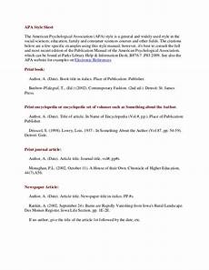 Apa6 Style Apa Style Sheet And Evaluating Articles