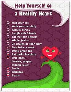 Heart Health Chart Help Yourself To A Healthy Heart Heart Health Awareness