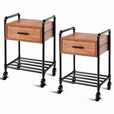 costway 2pcs 2 tier end coffee table nightstand sofa side