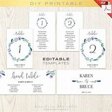 Downloadable Seating Chart Floral Wedding Table Numbers Printable Template Seating