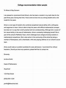 Recommendation Letters Samples College Recommendation Letter 10 Sample Letters Amp Free