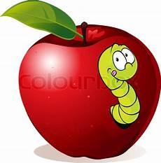 Malvorlagen Apfel Mit Wurm Illustration Der In Roten Apfel Wurm Stock Vektor