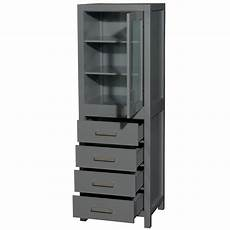 24 quot linen tower in gray with shelved cabinet storage