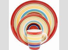 Mainstays Sonoma Stripes 16 Piece Dinnerware Set, Multi