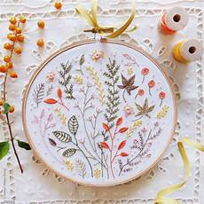 modern embroidery embroidery kit autumn leaves wall