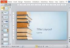 Books Powerpoint Backgrounds Blue Bookstack Educational Powerpoint Template