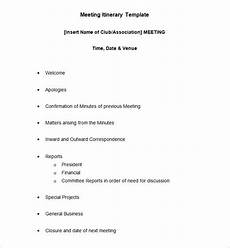 Examples Of An Itinerary 10 Meeting Itinerary Template Word Pdf Free