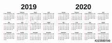 Week Calander 2019 2020 Calendar Vector Graphics Week Starts Sunday