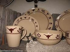 Designer Dishes Western Dinnerware 16 Piece Branded Design Cowboy Cowgirl