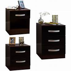 hulio 1 2 3 drawer bedside cabinet chest wood high gloss