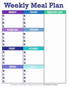 Meal Planning Template Free Printable Weekly Meal Planner Template Happiness Is Homemade