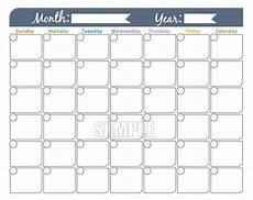 Blank Fillable Calendar Monthly Calendar Printable Undated Fillable Family