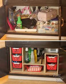 sink cabinet before and after organization jpg
