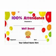 100 Attendance Certificate Template 100 Attendance Award Certificate Balloons