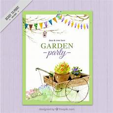 Garden Party Invites Watercolor Garden Party Invitation Design Vector Free