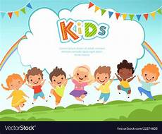 Children Playing Background Children Jumping Background Happy Kids Playing Vector Image