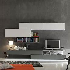 modern italian tv media unit grey white by santa lucia