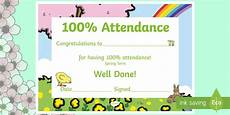 100 Attendance Certificate Template Spring Themed 100 Attendance Certificate Certificates