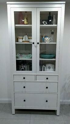ikea hemnes glass door cabinet with drawers in white in