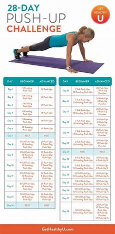 Push Up Chart For Beginners 28 Day Push Up Challenge Push Up Challenge Workout