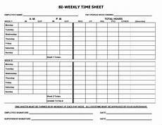 Two Week Timesheet Printable Timesheets Bi Weekly Template Business Psd