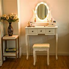 gymax 5 drawers vanity makeup dressing table stool set